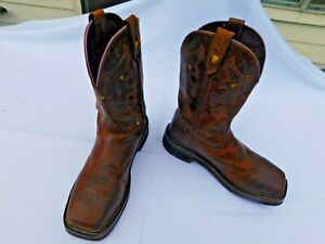 JUSTIN Brown Leather Cowboy Work Boots Men's Size 7.5B Style WKL4664