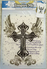 "Ornate Cross with Wings Inspiration Transfer 10""x9"" FREE SHIP"