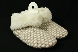 Sonoma Women's  Ivory Sweater Knit Boot Slippers Shoes Size S 5-6