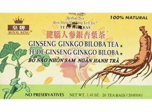 Royal King Ginseng Ginkgo Biloba Tea 20 Tea Bags/box-FAST SHIPPING