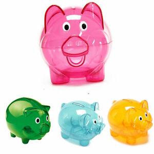 Piggy Bank Money Box Saving Coins Cash Fun Gift Plastic Pig Safe Clears Kids