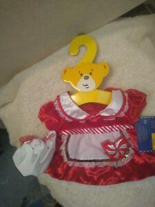 Build A Bear Mrs Claus Christmas peppermint heart dress w/ apron hat clothes