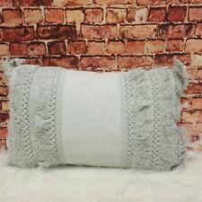 """Peri Home Fringe Gray 100% Cotton Decorative Pillow 12""""x16"""""""