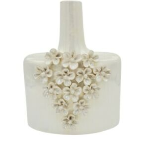 "Flower Vase Square Bottle Iridescent Pearl Glaze 3D Daisy relief Pottery 11"""
