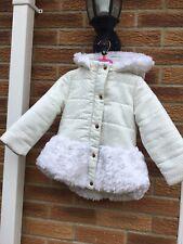 Girls Age 3-4 Ted Baker White Faux Fur Shiny Coat Jacket Parka