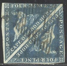 Cape of Good Hope #4 Used Pair - 1855 4p Blue ($170)