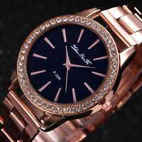 Fashion Rose Gold Tone Ladies Watches Women Softech Quartz Wrist Watch-