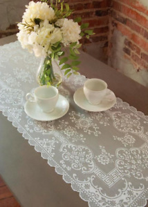 """Heritage Lace 14""""x 36"""" FILIGREE White Table Runner  - Made in USA!"""