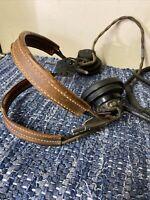 VINTAGE Western Electric Headphones Headset Receiver Leather headgear Bakelite
