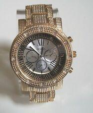 Men's big hip hop gold  finish bracelet fashion dressy/casual wear watch