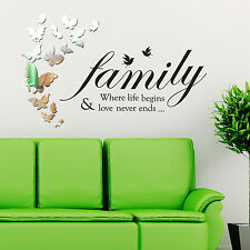 Quote Decoration Family Mural Decal Paper Art Wall Stickers Butterflies Bedroom