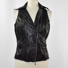 BISOU BISOU Women's Faux Leather Moto Vest LARGE Black