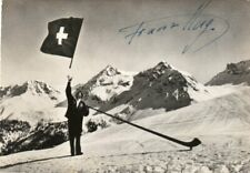 VINTAGE RP SIGNED POSTCARD OF FRANZ HUG FLAG THROWER AT 1936 OLYMPICS UNPOSTED
