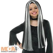 Black & Silver Streaked Girls Witch Wig Halloween Fancy Dress Kids Costume Acc