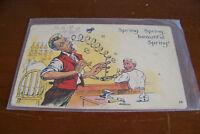 Rare Vintage Antique Postcard Humorous Comic Funny Science Lab Spring Beautiful