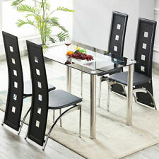 Modern Black Dinning Table and 4 Dining Chairs Set for Kitchen Dining Room Home