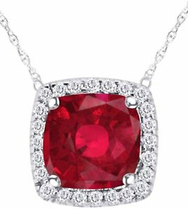Simulated Ruby Halo Pendant Necklace For Women's In 14k Gold Over
