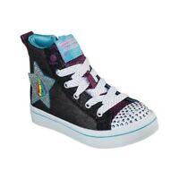 Skechers Twinkle Toes Zapatos Con Luces Plata Negro Encaje