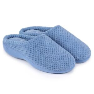 Totes Isotoner POPCORN TERRY Ladies Womens Casual Mule Slippers Cornflower Blue