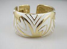 Kenneth Jay Lane White Enamel Gold Hinged Vintage Statement Open Bangle Bracelet