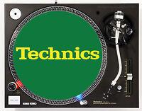 TECHNICS CLASSIC YELLOW ON GREEN - DJ SLIPMAT 1200's or any turntable