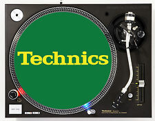 TECHNICS CLASSIC YELLOW ON GREEN - DJ SLIPMATS (1 PAIR) 1200's or any turntable