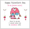 Cute Valentines Day Card Lockdown 2021 Gnomes Face Mask Any Text Love