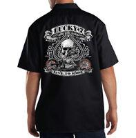 Dickies Black Mechanic Work Shirt Lucky 7 Spade & Skull Motorcycle Biker