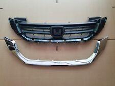 fits 2013-2015 ACCORD 4dr SEDAN Front Bumper Grille w/ Chrome Trim PAIR SET 2PC