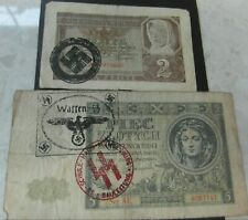 2 WW2 BANKNOTES. BILL 2, 5  ZLOTY SS WAFFEN STAMPS