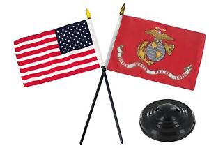 "EGA Marines w/ USA America American Flag 4""x6"" Desk Set Table Stick Black Base"