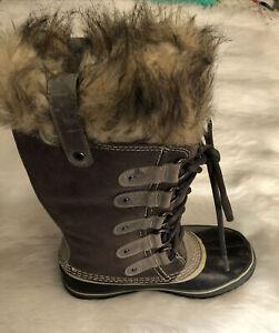 New Sorel Joan of Arctic Winter Waterproof Fur Suede Boots Womens 7 black Gray