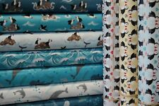 Lewis & Irene Spindrift Puffins, Whales & Dolphins 100% Cotton Fabric by the FQ