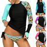 Women Long Sleeve UV Sun UPF 50+ RashGuard Top Two Piece Surfing Diving Swimsuit
