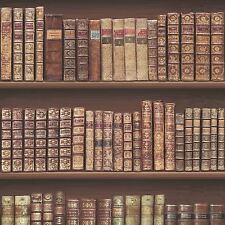 ANTIQUE BOOKCASE WALLPAPER ROLLS - BROWN GOLD - 575208 - LEATHER BOOKS LIBRARY