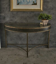 Elegant Half Round Hall Console Side Display Table ~ Metal Base Inset Glass Top