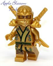 NEW Lego Ninjago Green & GOLD NINJA MINIFIG Lloyd Minifigure Katana Swords 70505