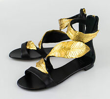 New. GIUSEPPE ZANOTTI Roll Jeti Black Leather Sandals Shoes 5 US 35 EU $1300