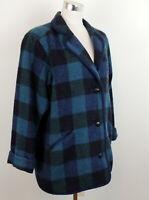Eddie Bauer M Vintage Plaid Coat Button Down Green Blue Wool