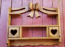 "Solid Vintage Wood Wall Shelf 20 1/2"" Tall, 25 1/2' Long, 3 12"" Wide Heart Bow"