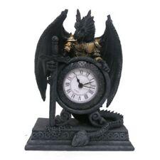 Uhr Drache in Rüstung Gothic Dekoration Standuhr Drachenuhr 20cm Mystik Deko NEU