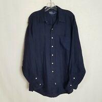 Polo Ralph Lauren Mens Blue 100% Linen Button Front Long Sleeve Shirt Large M416