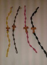 Set n. 4 bracciale pellegrino Tau legno ulivo corda 10 nodi San Francesco Assisi
