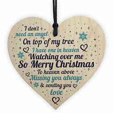 memorial christmas decorations xmas tree baubles wood heart mum dad nan friend