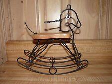 Unique Shabby Chic Style Wire & Wood Rocking Horse Hobbyhorse Figurine