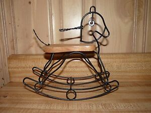 Unique Shabby Chic Style Wire & Wood Rocking Horse Hobbyhorse Figurine