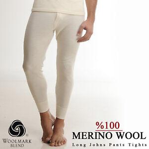%100 Merino Wool Long Johns Pants High Waist Thermal Warm Trousers Men Women