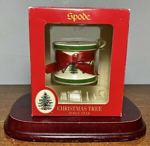 "VTG Spode Christmas Tree Ornament Porcelain 2"" Drum Drumsticks Red Bow 1998 NEW"