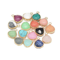 20pcs Mixed Stone Pendants Faceted Drop Pendants Mini Smooth Charms 17.5x13.5mm