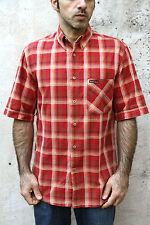 MARLBORO CLASSICS Camicia Casual da Uomo Verificato Tartan Arancione Cotone a Maniche Corte M